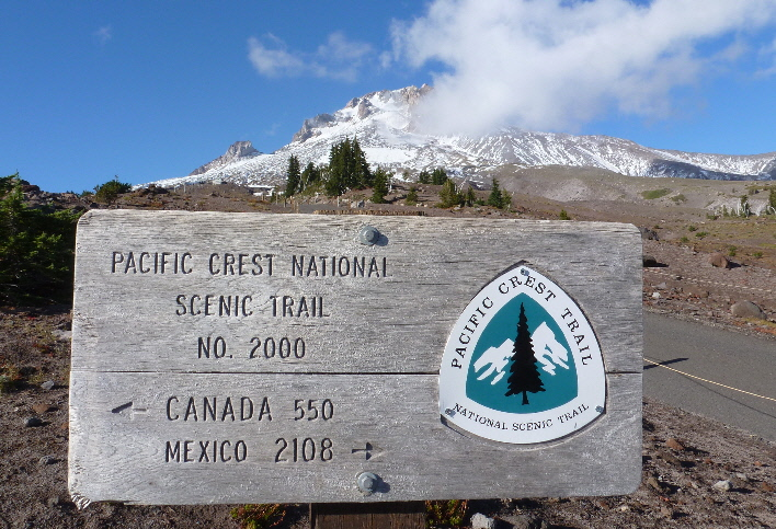 Mt. Hood Timberline PCT sign with new snow