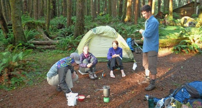 Next Adventure Backpack Oregon Coast dinner in camp