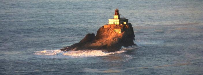 Pacific Ocean view of Tillamook Rock lighthouse