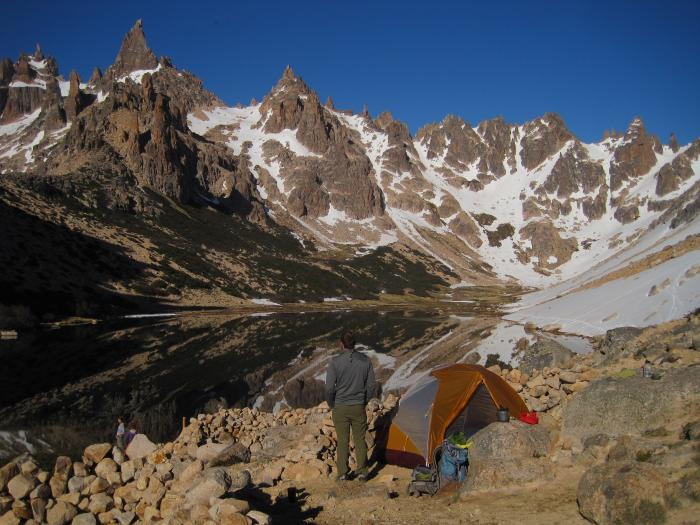 The perfect campsite at Refugio Frey in Patagonia
