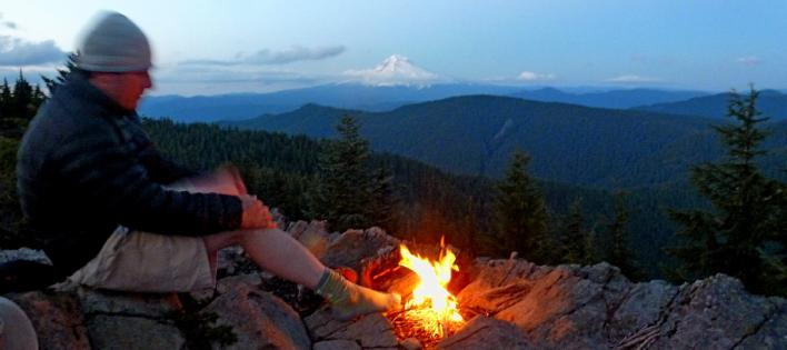 Next Adventure Backpacking campfire mountain view