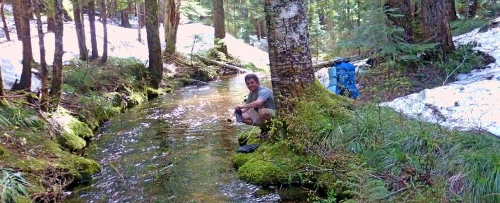 Next Adventure backpack streamside water filtering