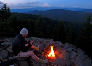Next Adventure Backpack summit campfire with Mt. Hood view