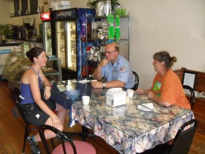 Al, Connie and I at Our Town's Brewin' coffee shop