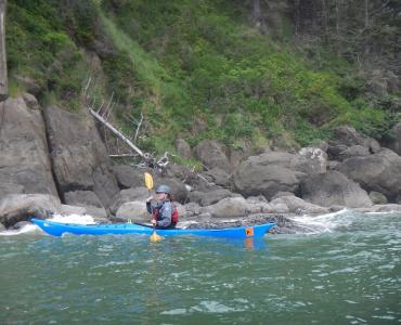 Paddling the Zephyr 155 at Cascade Head