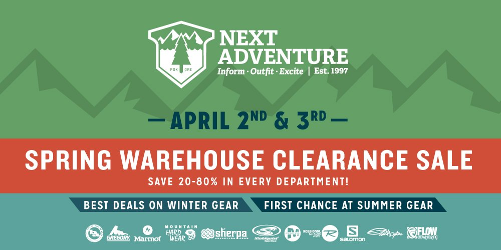 Next Adventure spring warehouse clearance sale
