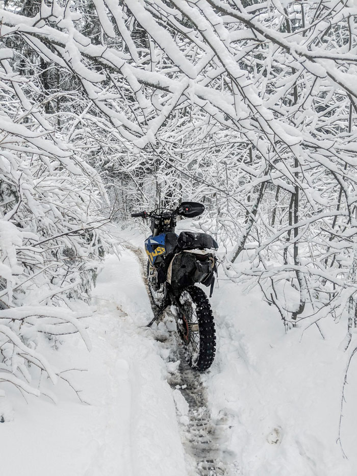 Motorcycling in the snow