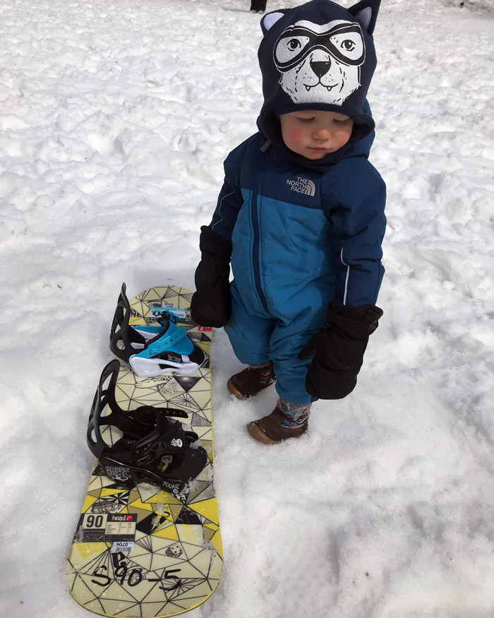 Snowboarding with a toddler