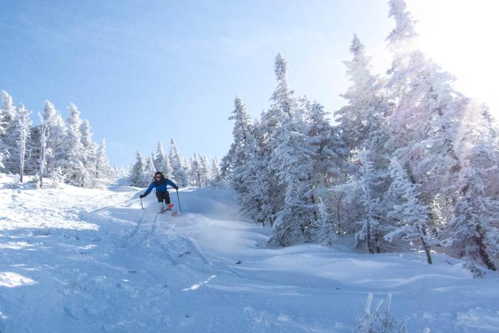 Backcountry skiing Saddleback Mountain